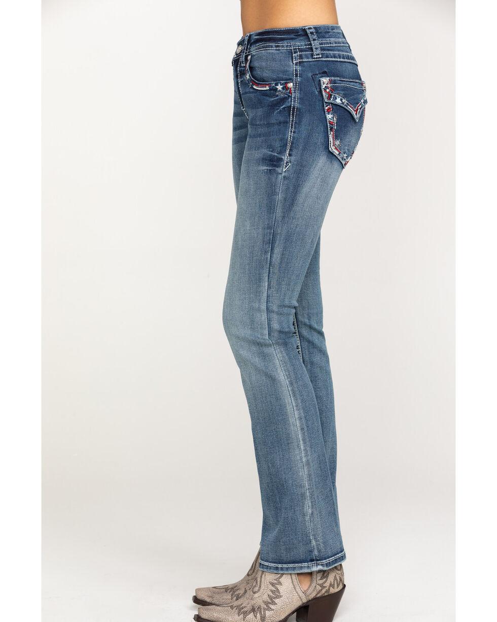 "Grace in LA Women's Medium Stars Easy Bootcut 34"" Jeans , Blue, hi-res"