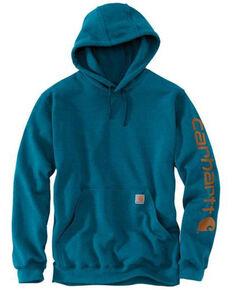 Carhartt Men's Ocean Blue Midweight Signature Sleeve Hooded Work Sweatshirt - Tall , Heather Blue, hi-res