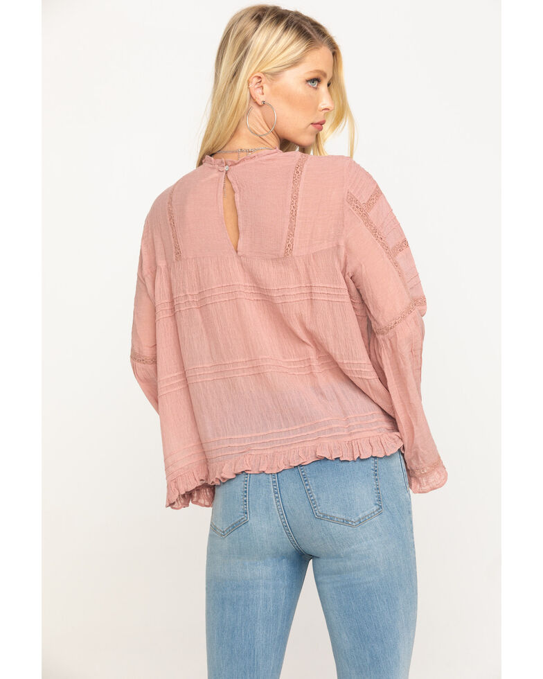 Free People Women's Rose Olivia Blouse, Pink, hi-res