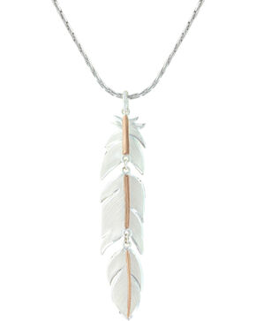 Montana Silversmiths Women's Rose Gold Plume Feather Necklace , Silver, hi-res