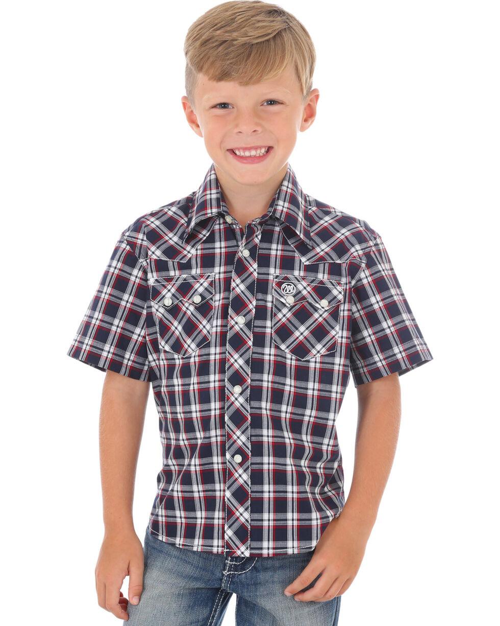 Wrangler Retro Boys' Navy Short Sleeve Plaid Shirt , Navy, hi-res