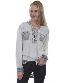 Honey Creek by Scully Women's Matte Embroidered Lace Up Long Sleeve Blouse, Teal, hi-res