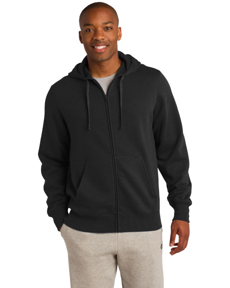 Sport Tek Men's Full-Zip Hooded Sweatshirt , Black, hi-res