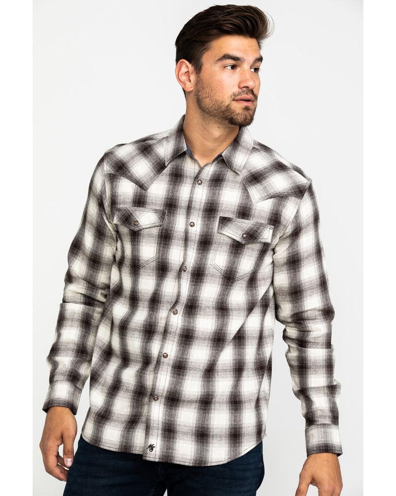 Moonshine Spirit Men's Drift Plaid Long Sleeve Western Flannel Shirt , Cream, hi-res