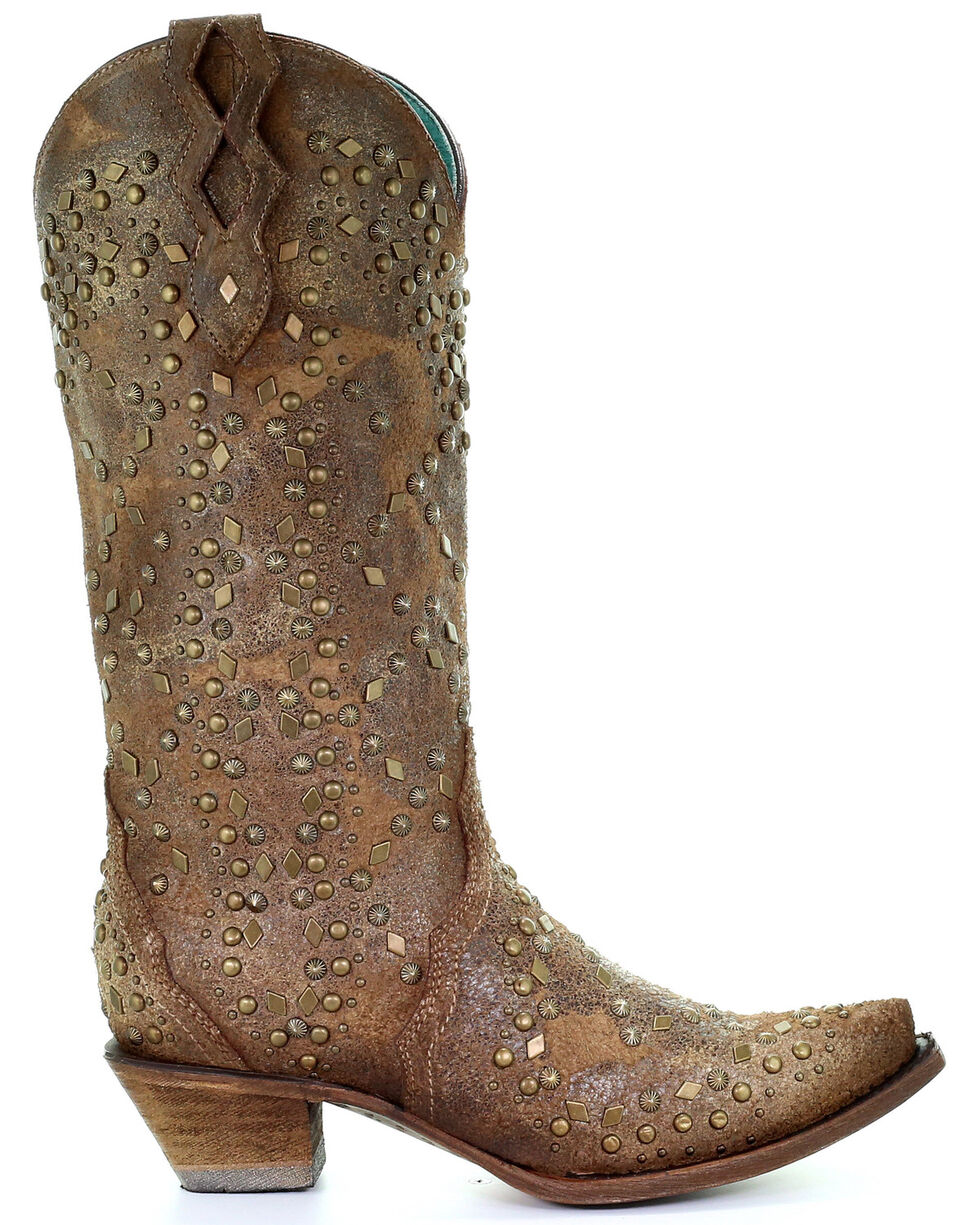 Corral Women's Sand Full Studs Western Boots - Snip Toe, Sand, hi-res