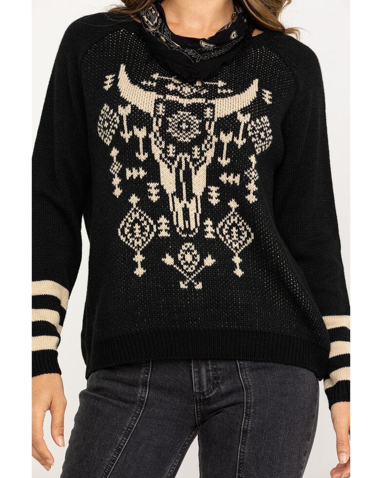 Rock & Roll Cowgirl Women's Black & White Steerhead Sweater, Black, hi-res