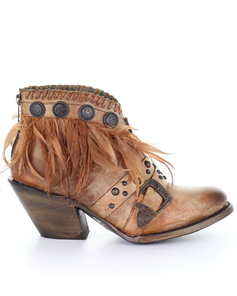 Corral Women's Cognac Conchos & Feathers Fashion Booties - Round Toe, Cognac, hi-res
