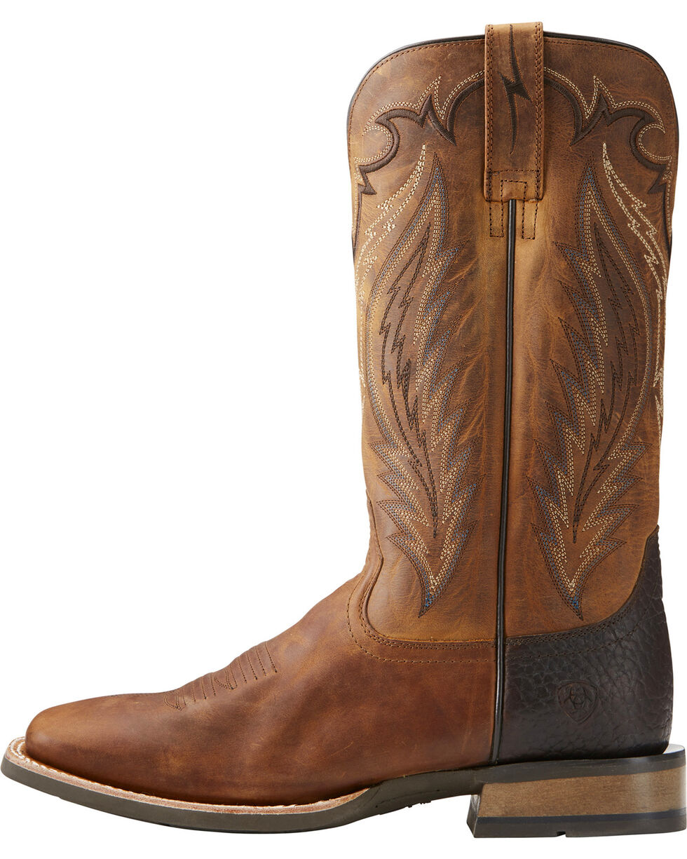 Ariat Men's Top Hand Performance Cowboy Boots - Square Toe, Tan, hi-res