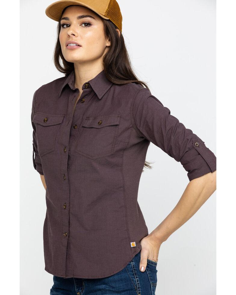 Carhartt Women's Wine Rugged Flex Bozeman Work Shirt, Wine, hi-res