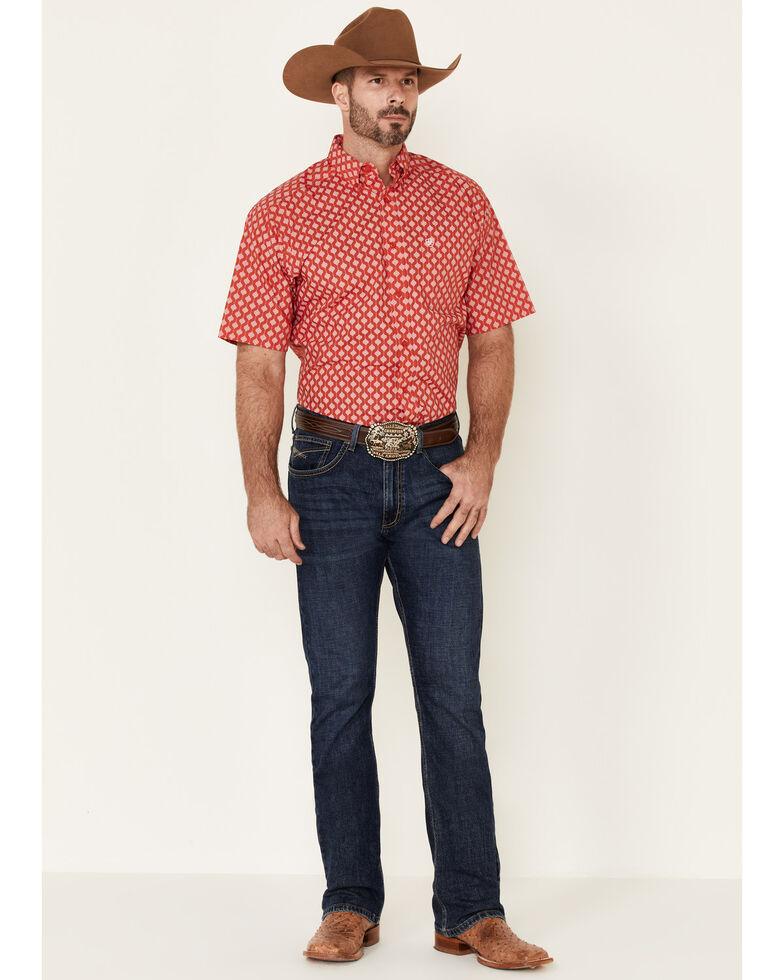 Ariat Men's Baywood Geo Print Short Sleeve Western Shirt , Red, hi-res