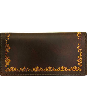 Western Express Women's Antique Brown Leather Checkbook Wallet , Brown, hi-res