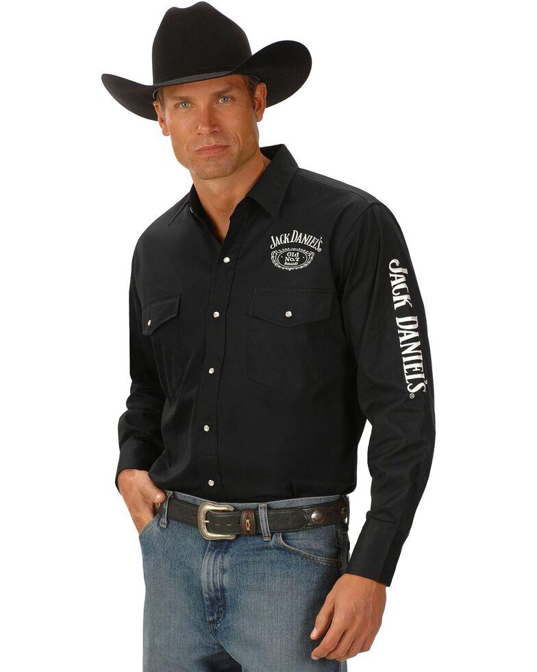 Jack Daniel's Men's Old No. 7 Long Sleeve Western Shirt, Black, hi-res