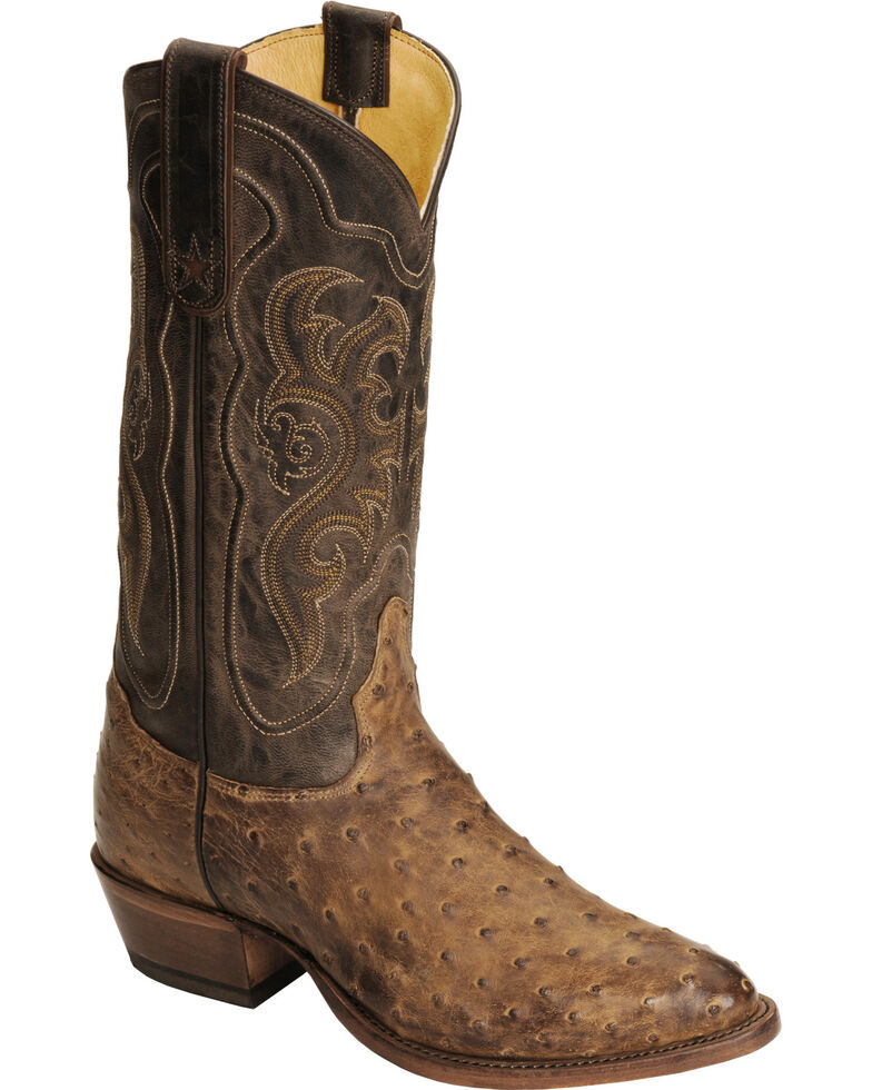 Tony Lama Men's Vintage Full Quill Ostrich Exotic Western Boots, Chocolate, hi-res