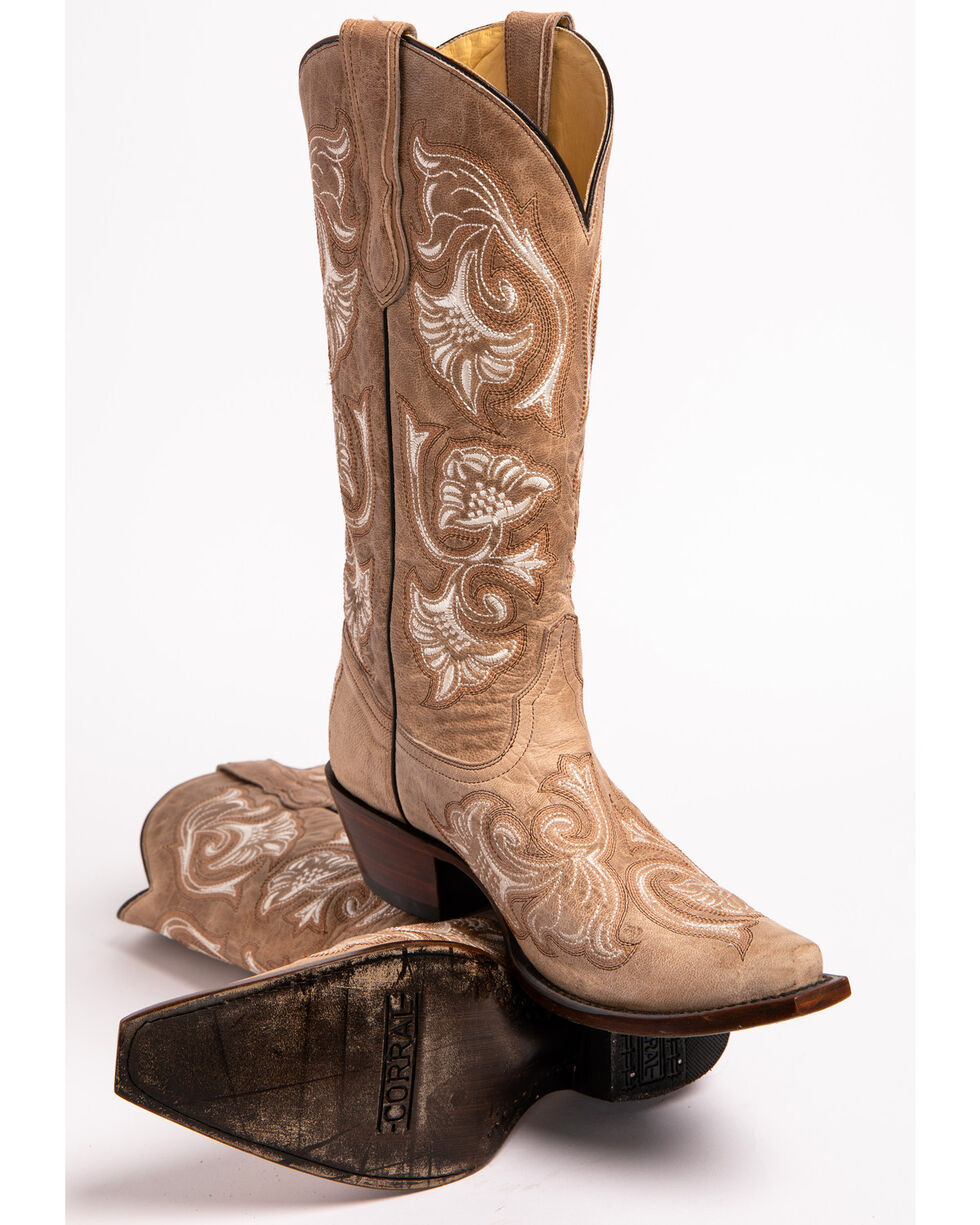 Corral Women's Floral Embroidered Western Boots, Bone, hi-res
