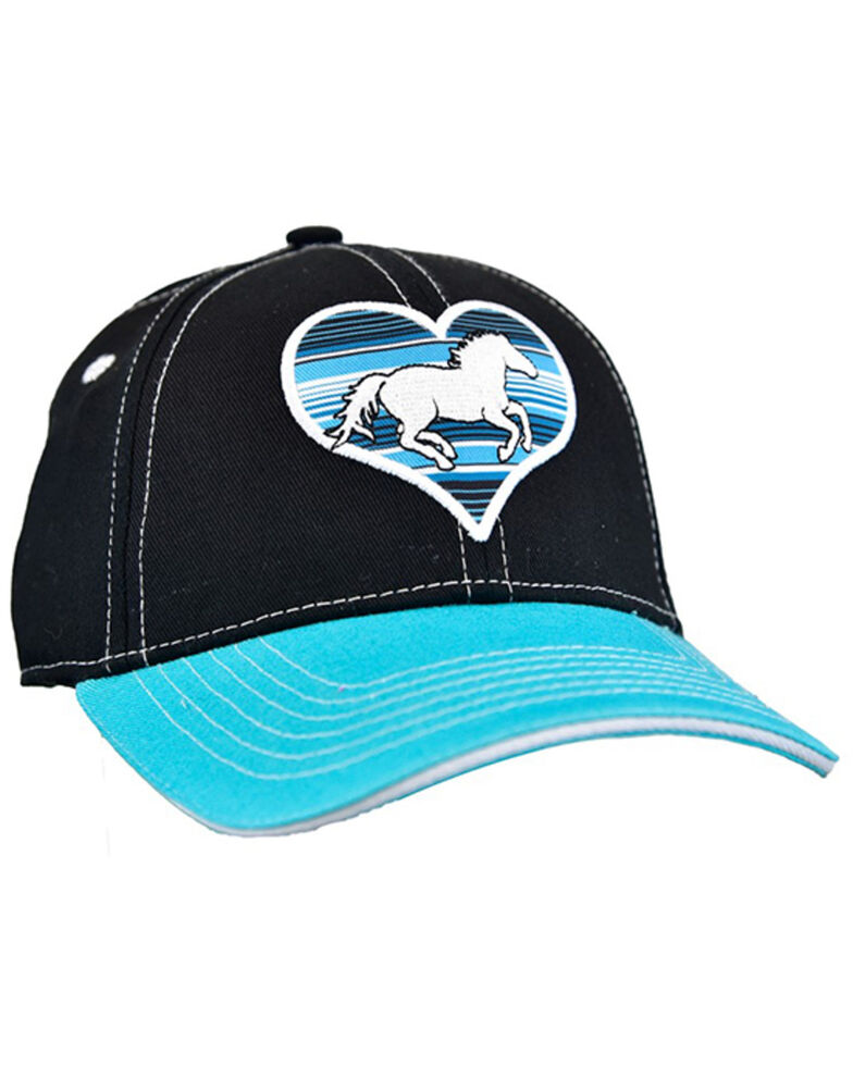 Cowgirl Hardware Girls' Black & Turquoise Serape Horse Heart Embroidered Ball Cap , Turquoise, hi-res