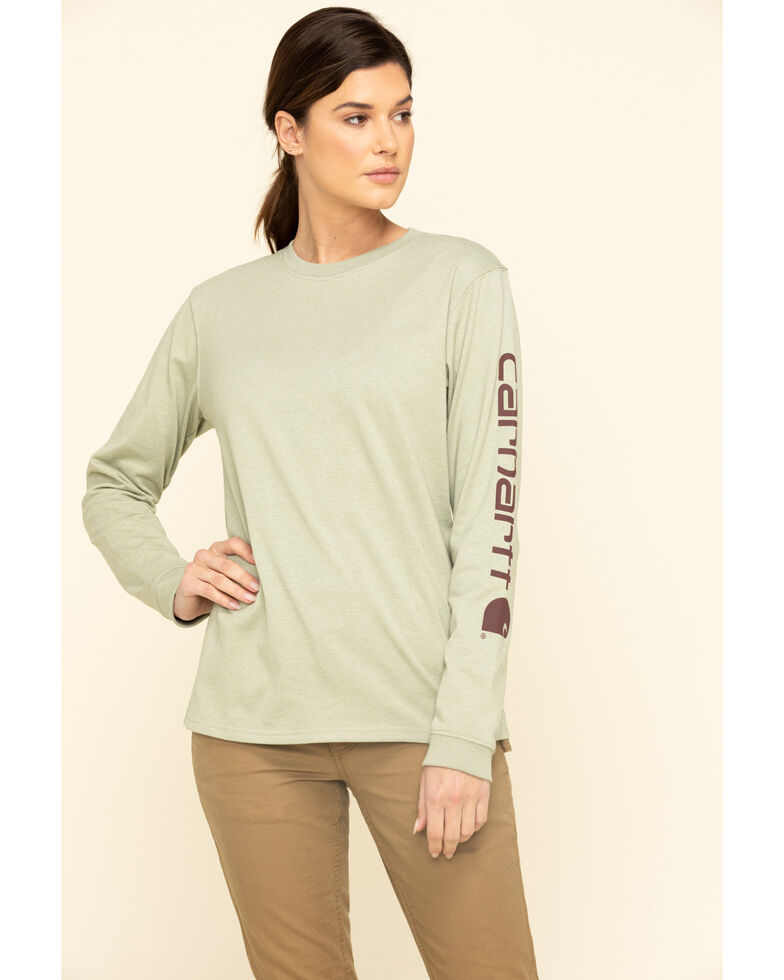 Carhartt Women's Sage Logo Long Sleeve Work T-Shirt, Sage, hi-res