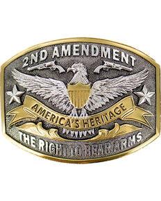 Cody James® Dual-Tone 2nd Amendment  Belt Buckle, Silver, hi-res