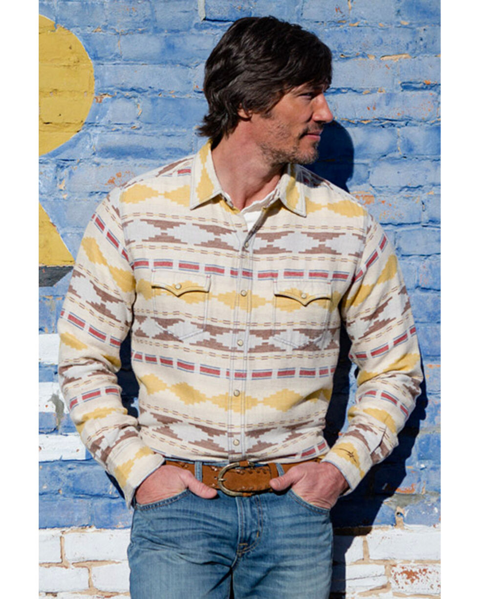 Ryan Michael Men's Brushed Blanket Western Shirt, Ivory, hi-res