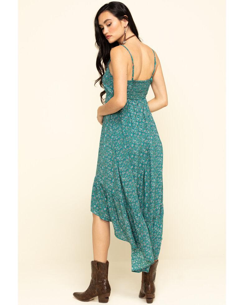 Angie Women's Green Ditsy Floral V-Neck Hi Low Dress , Teal, hi-res