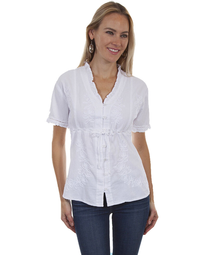 Cantina by Scully Women's Ruffle Short Sleeve Blouse, White, hi-res