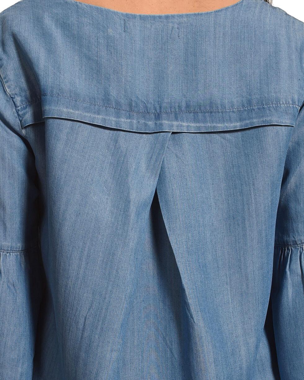 Billy T Women's Blue Raw Hem Denim Top , Blue, hi-res