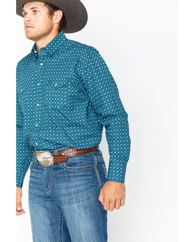 George Strait by Wrangler Men's Diamond Geo Print Long Sleeve Western Shirt , Forest Green, hi-res