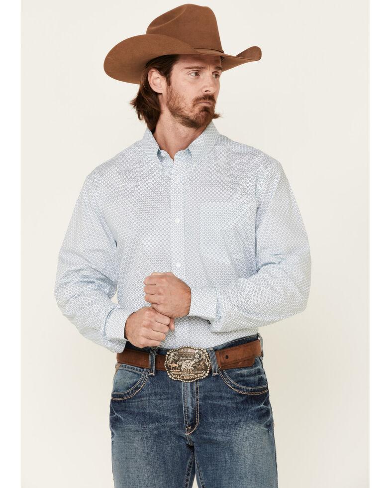 Cody James Core Men's Vintage Geo Print Long Sleeve Button-Down Western Shirt - Big, Blue, hi-res