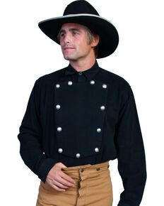 WahMaker Old West by Scully Brushed Twill Bib Shirt - Big & Tall, Black, hi-res