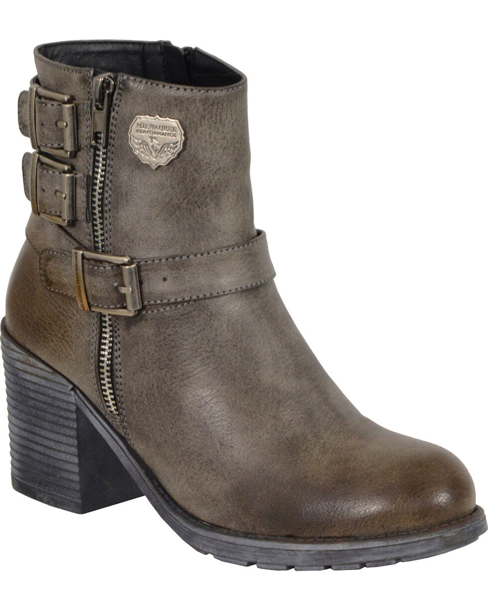 Milwaukee Leather Women's Grey Triple Buckle Platform Booties - Round Toe , Grey, hi-res