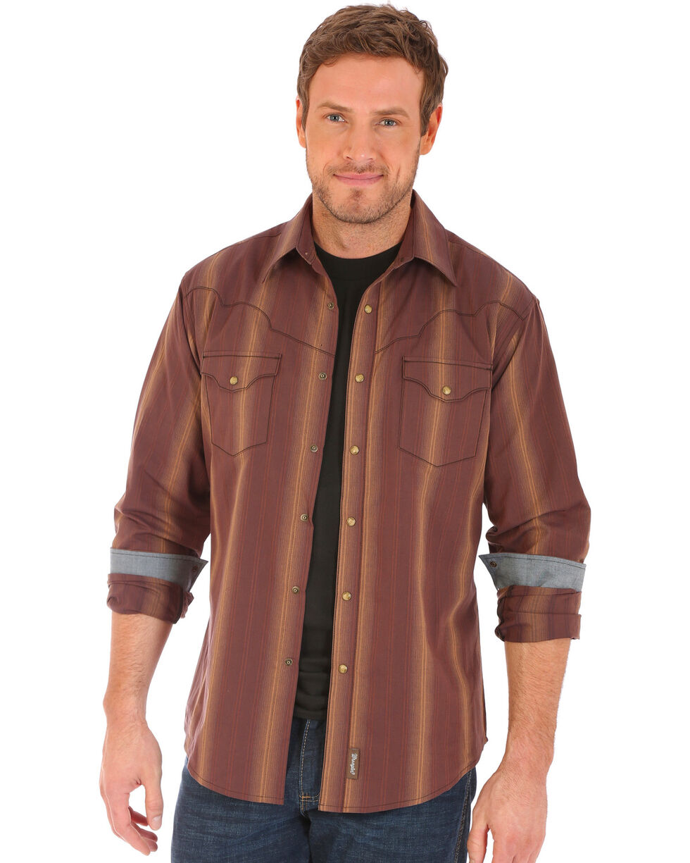 Wrangler Retro Men's Vertical Striped Long Sleeve Snap Shirt, Brown, hi-res