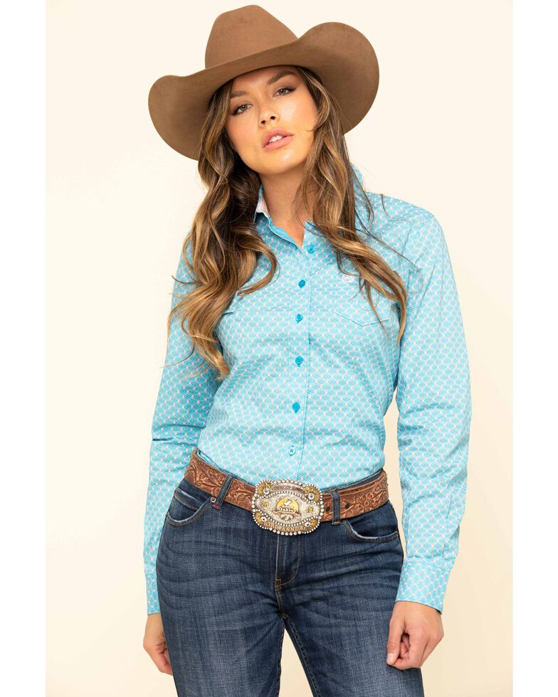 Cinch Women's Blue Tile Print Button Long Sleeve Western Shirt, Blue, hi-res
