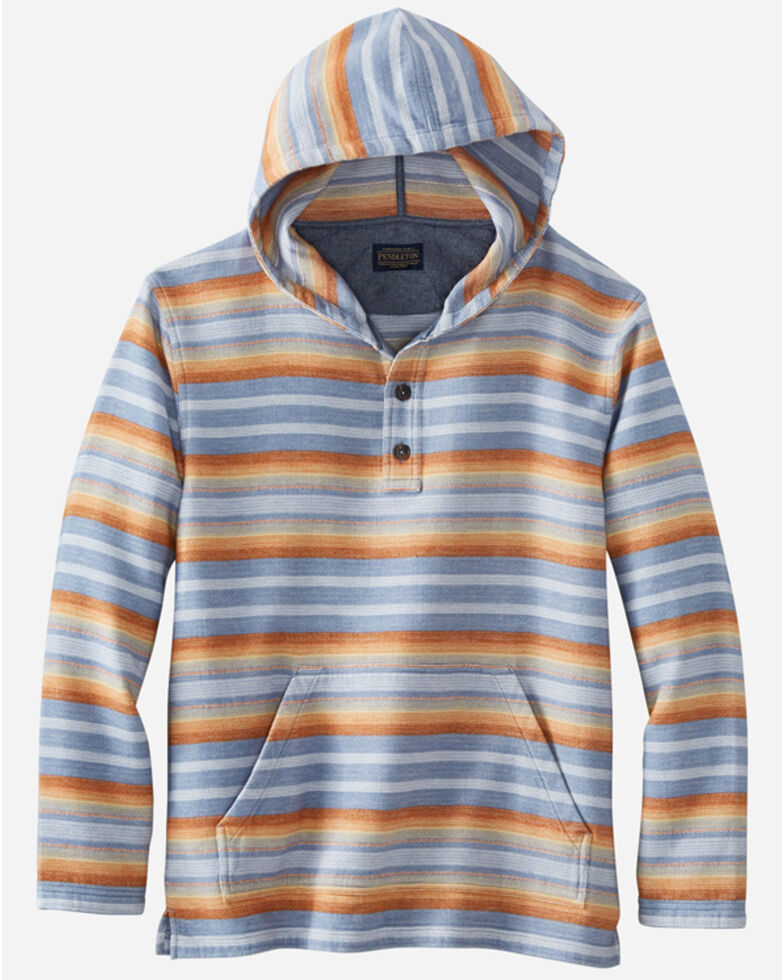 Pendleton Men's Blue Doublesoft Stripe 1/4 Snap Hooded Sweatshirt , Blue, hi-res