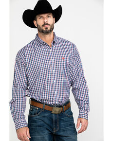 Cinch Men's Multi Tencel Plaid Button Long Sleeve Western Shirt , Purple, hi-res