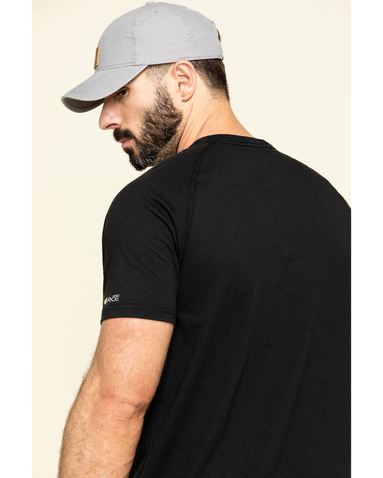 Carhartt Men's Force Cotton Short Sleeve Work T-Shirt , Black, hi-res