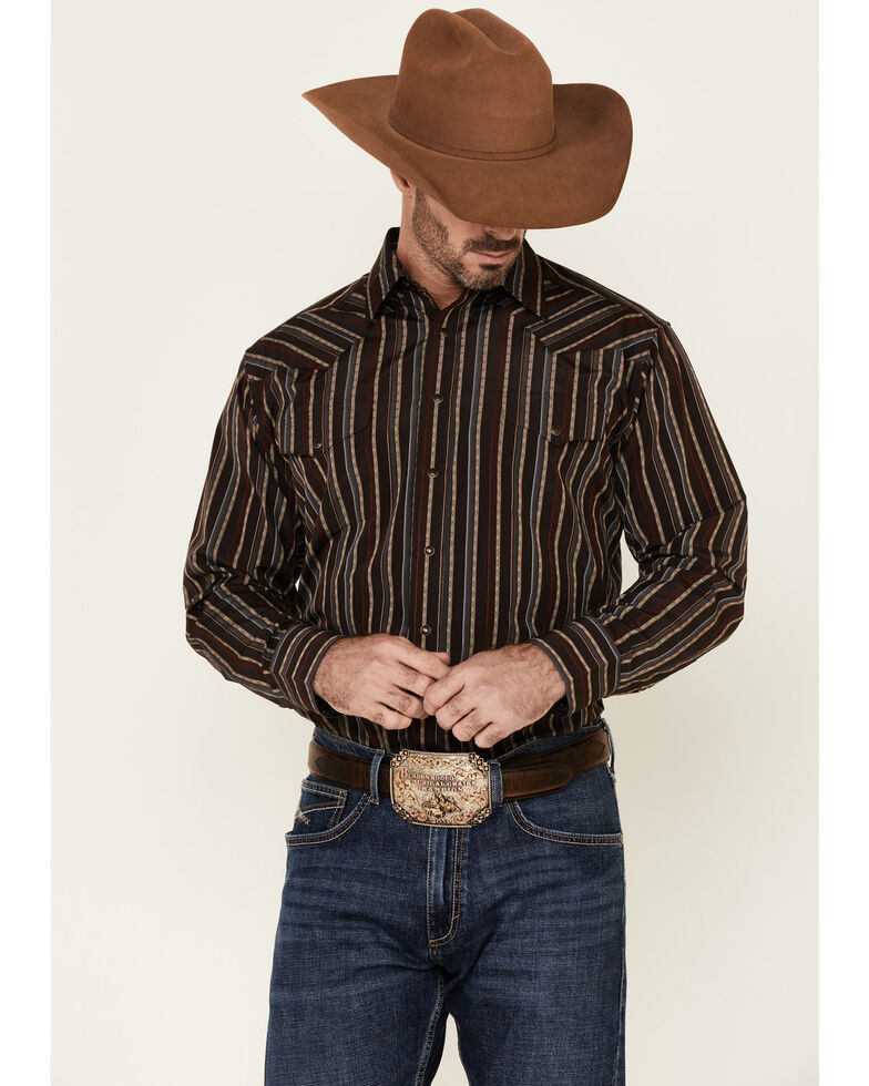 Panhandle Men's Brown Dobby Stripe Long Sleeve Western Shirt , Brown, hi-res