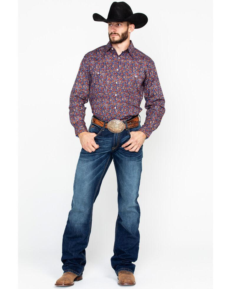 bb82b6d12 Zoomed Image Panhandle Men's Galena Vintage Print Long Sleeve Western Shirt,  Navy, hi-res