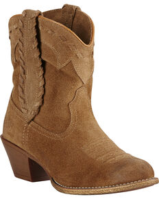 Ariat Women's Round Up Rianda Booties, Tan, hi-res