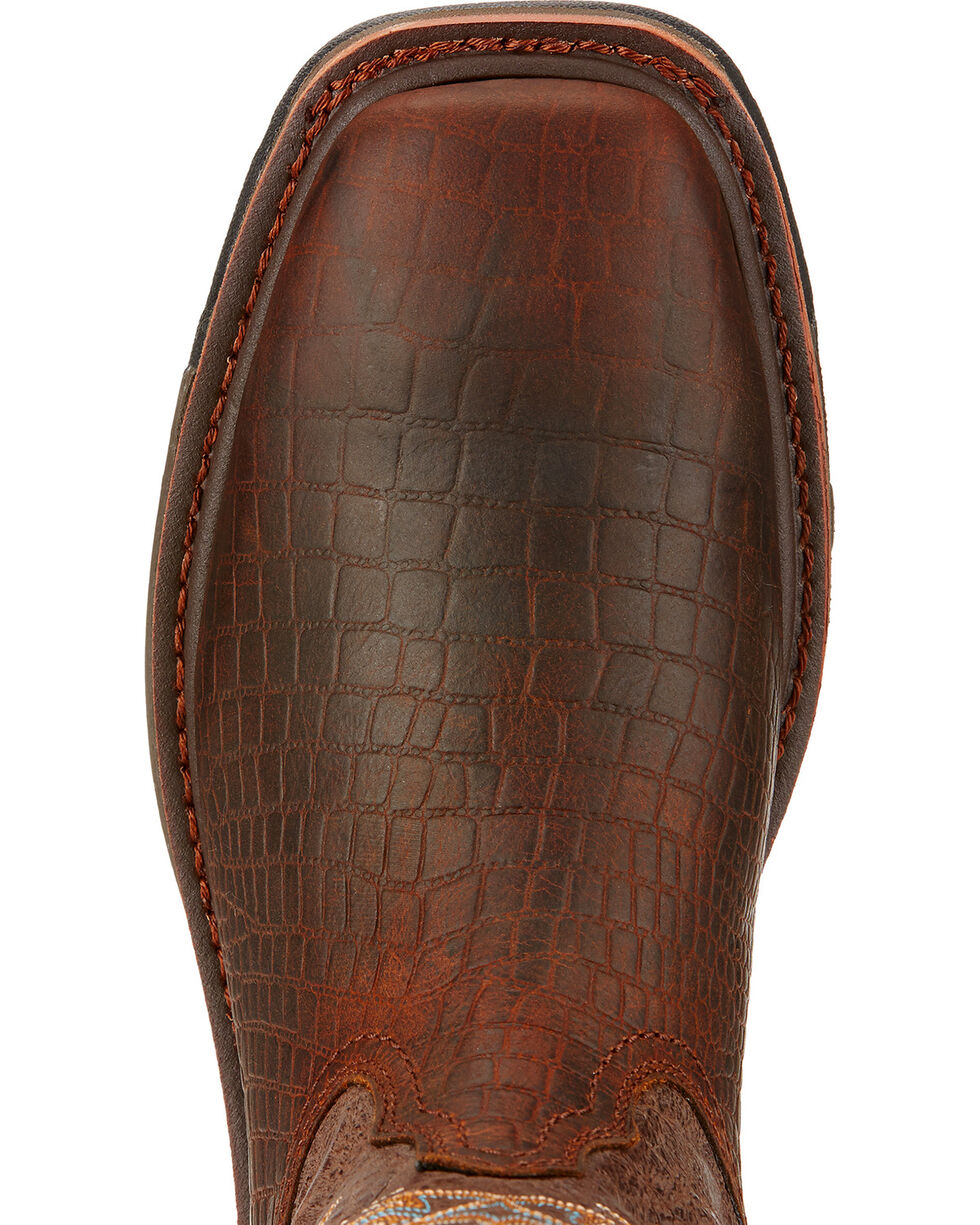 Ariat Workhog Croc Print Wide Square Toe Work Boots, Brown, hi-res