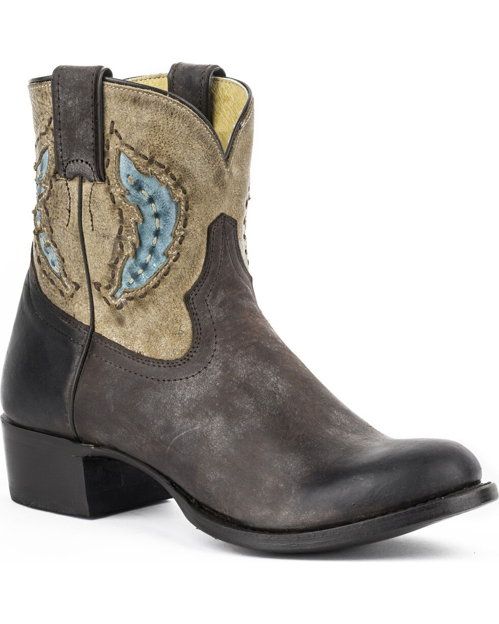 Stetson Women's Betsy Feather Western Shorty Boots, Brown, hi-res