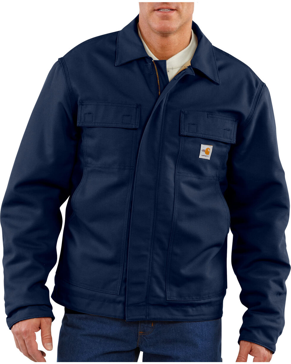 Carhartt Flame-Resistant Lanyard Access Quilt-Lined Jacket, Navy, hi-res