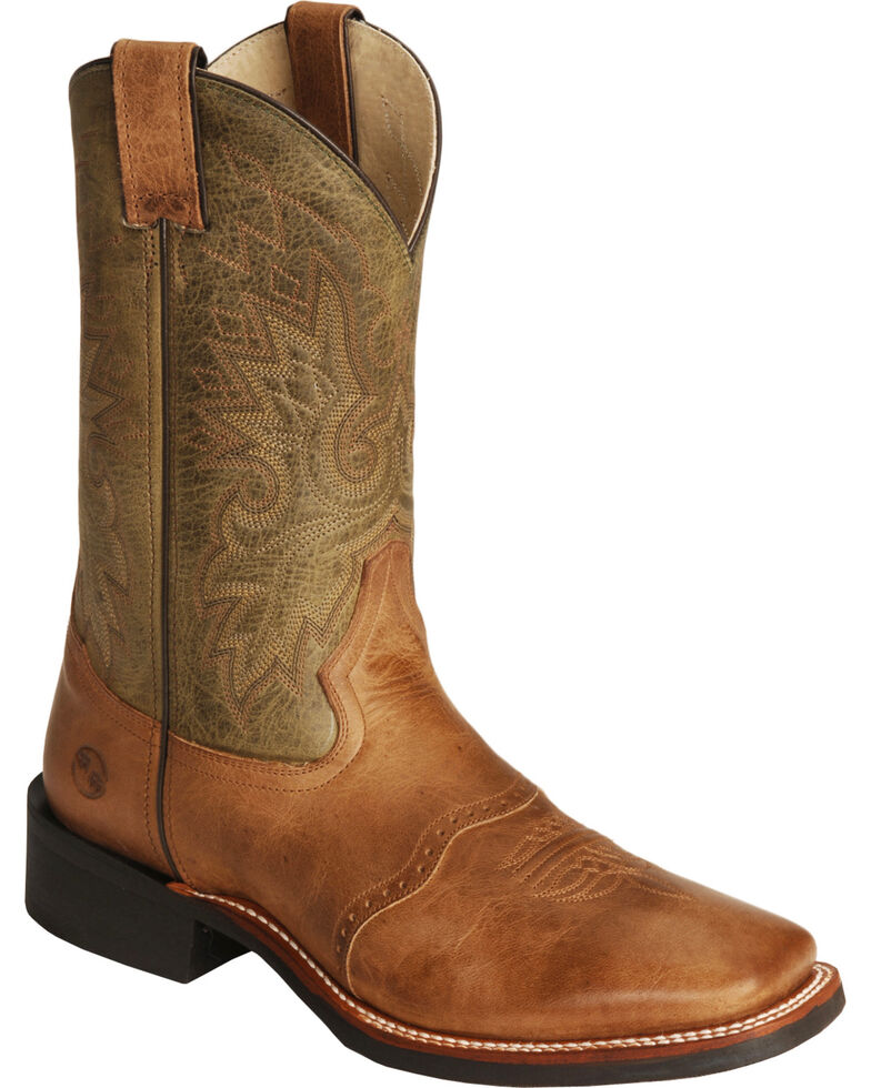 Double-H Men's Wide Square Toe Western Boots, Cognac, hi-res