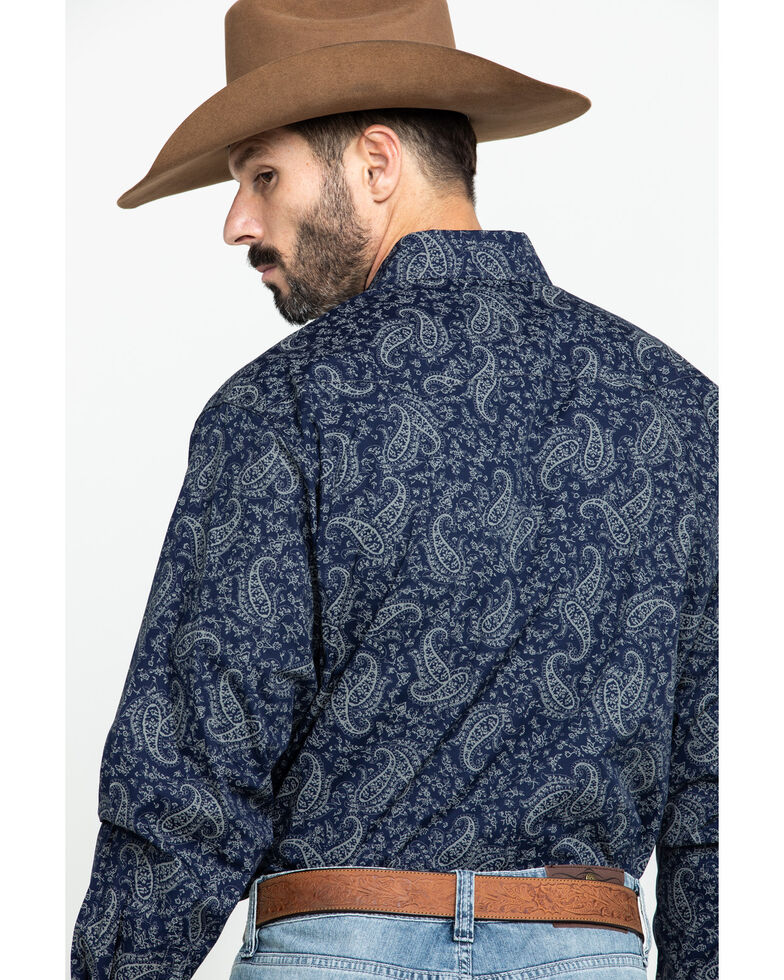 Cinch Men's Navy Paisley Snap Long Sleeve Western Shirt, Navy, hi-res