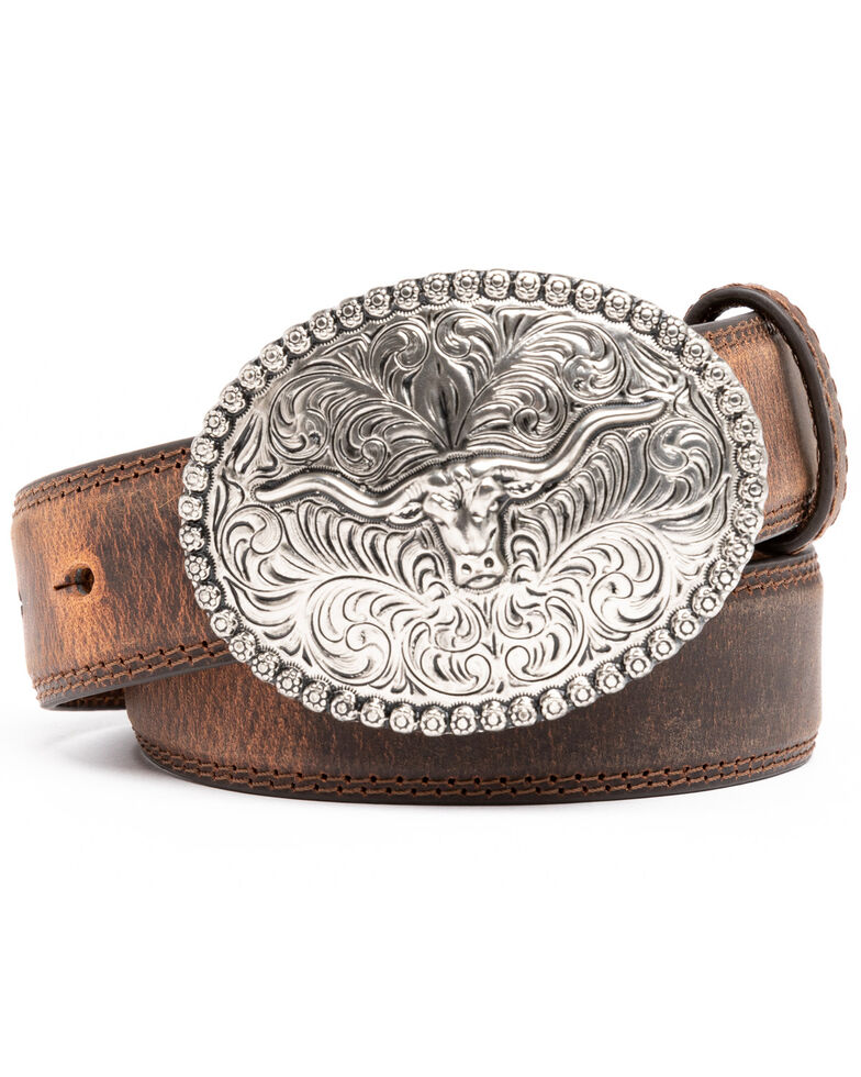 Cody James Boys' Longhorn Plaque Buckle Belt, Brown, hi-res