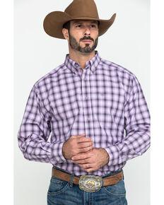 Ariat Men's Frankfort Small Plaid Long Sleeve Western Shirt - Big , Purple, hi-res