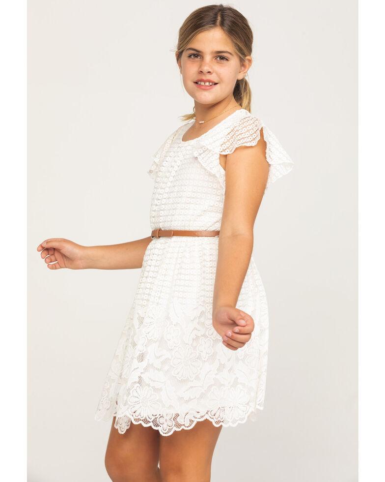 Shyanne Girls' Ivory Flutter Sleeve Lace Dress , Ivory, hi-res