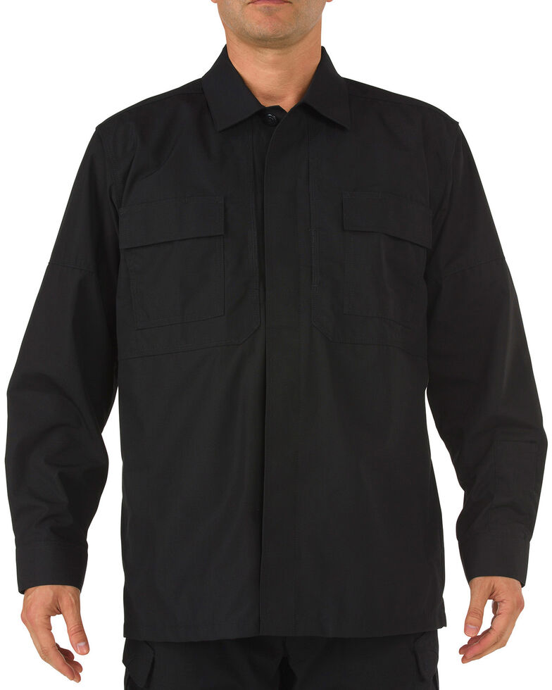 5.11 Tactical Ripstop TDU Long Sleeve Shirt - 3XL and 4XL, Black, hi-res