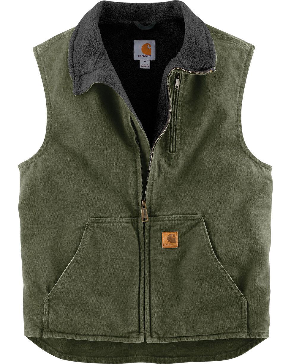 Carhartt Sherpa Lined Sandstone Duck Work Vest - Big & Tall, Moss Green, hi-res