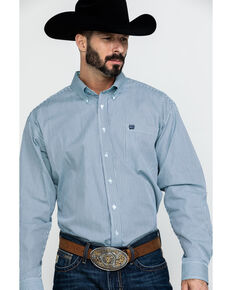 Cinch Men's Tencel Striped Long Sleeve Western Shirt , Light Blue, hi-res