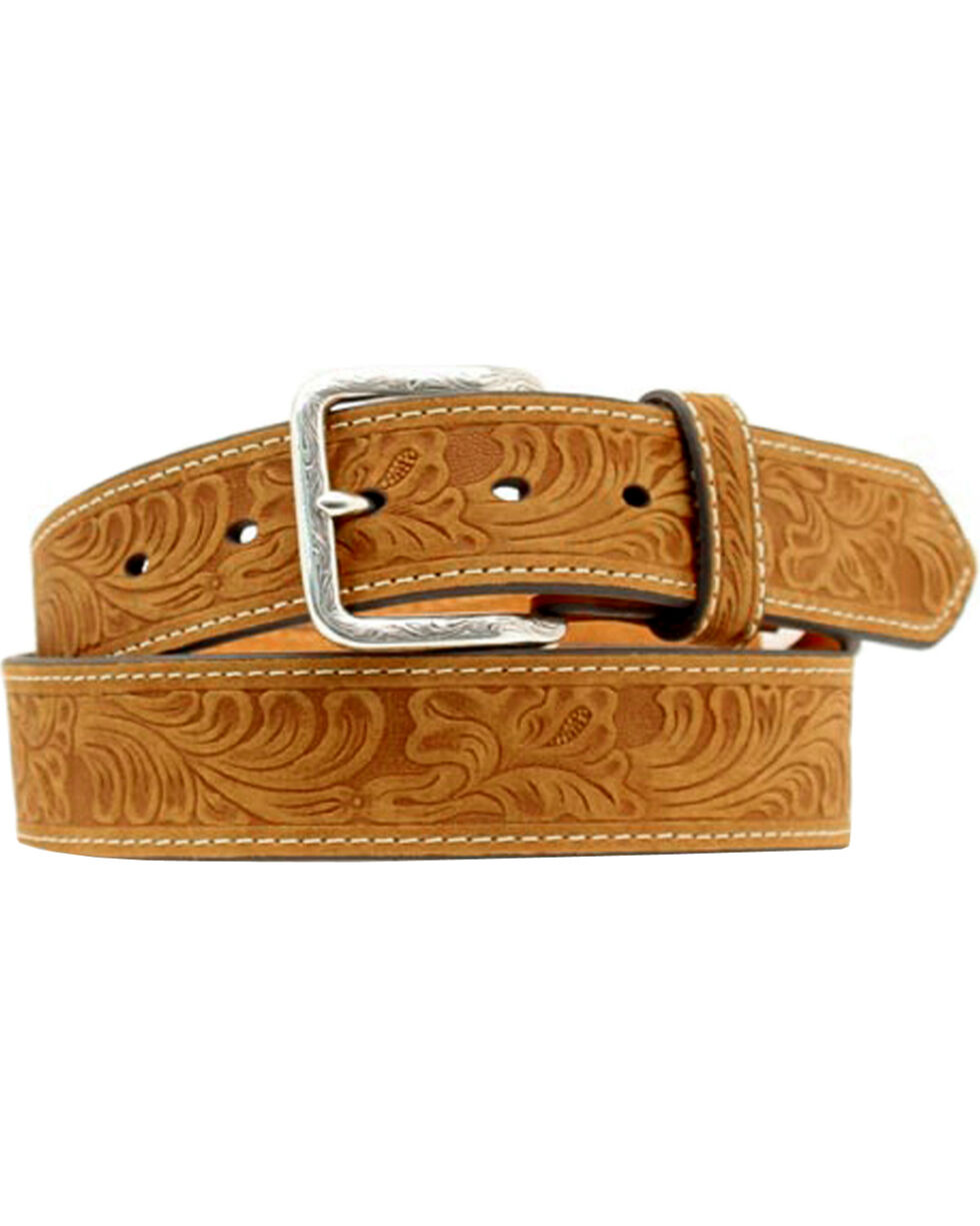 Nocona Men's Leather Tooled Western Belt, Distressed, hi-res