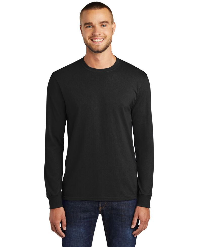 Port & Company Men's Black Core Blend Long Sleeve Work T-Shirt - Tall, Black, hi-res